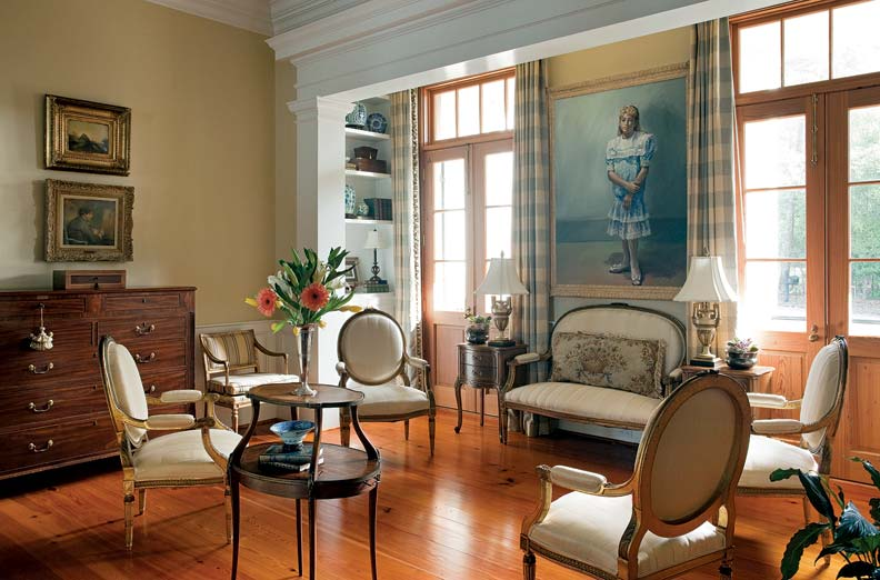 The living room offers a sense of refinement and Southern hospitality.
