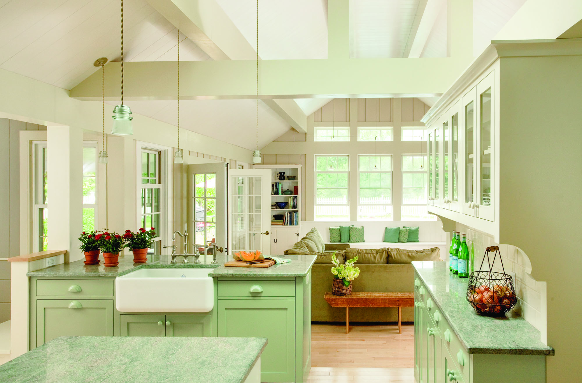 Kitchen reconfiguration of added-on space in an 1800s Cape Cod