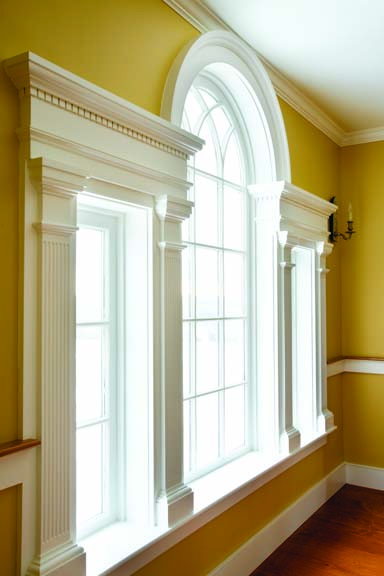 Connor Homes designed this Palladian window fo a home in New York using classical detailing such as dentil molding and fluted pilasters.