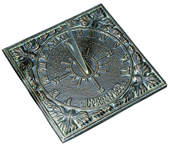 "Now purely decorative, sundials were essential time-tellers through the 18th century. Cape Cod Weathervane Co.'s aluminum one comes in three patinated finishes (such as weathered bronze, shown) with the inscription, ""I count none but sunny hours."""