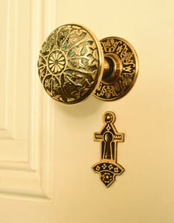 In the Victorian era, doorknobs and escutcheons, like everything else, went decorative. Such hardware is often called Eastlake style, although the tastemaker himself decried such excess.