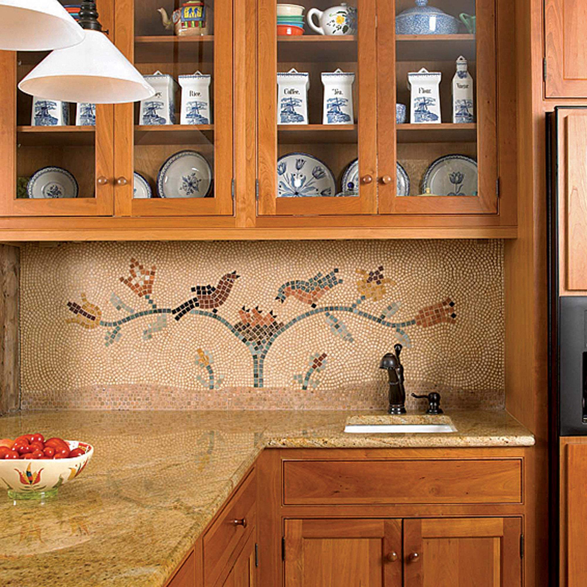 early American stencil designs, mosaic backsplash