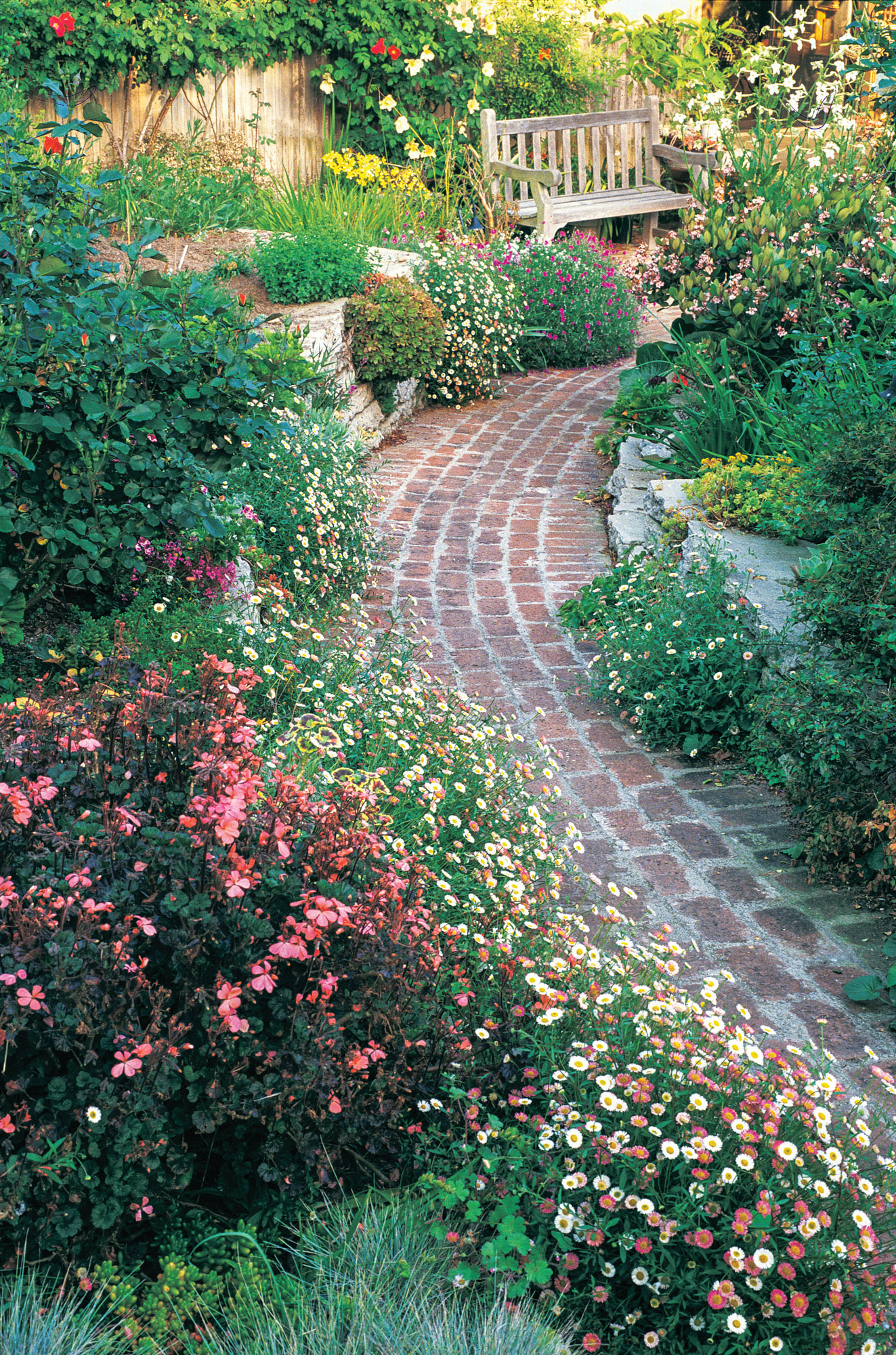 brick path with landscaping