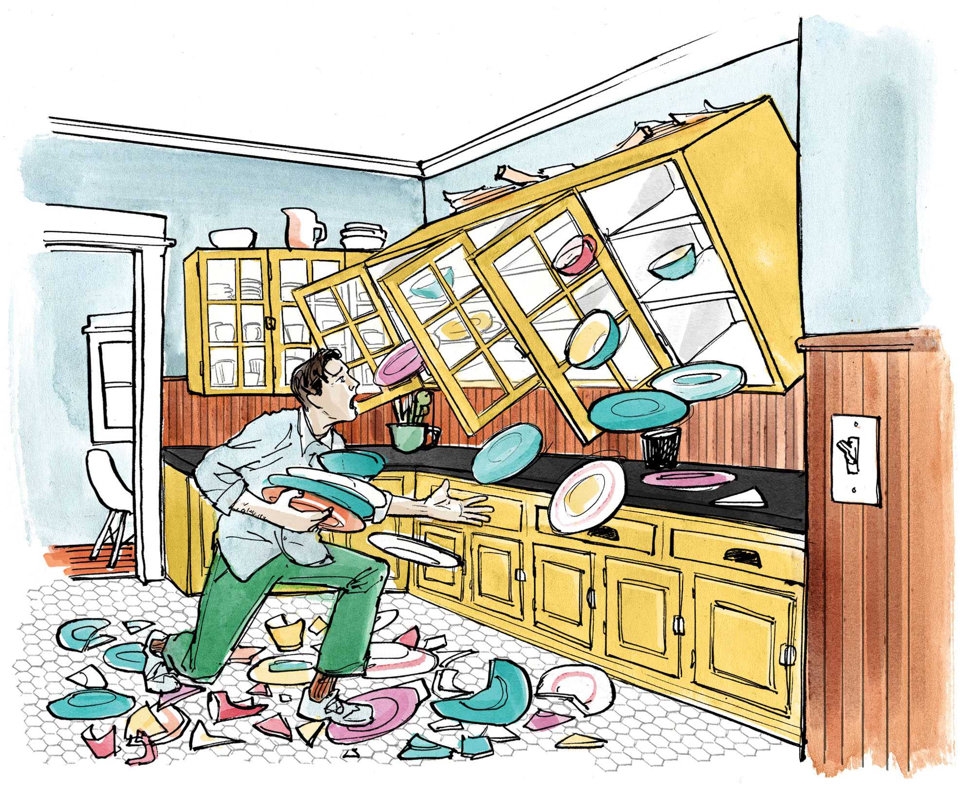 """""""We came home to find upper cabinets    at full tilt, with dishes smashing to smithereens onto the floor!"""" –Jim Sterling"""