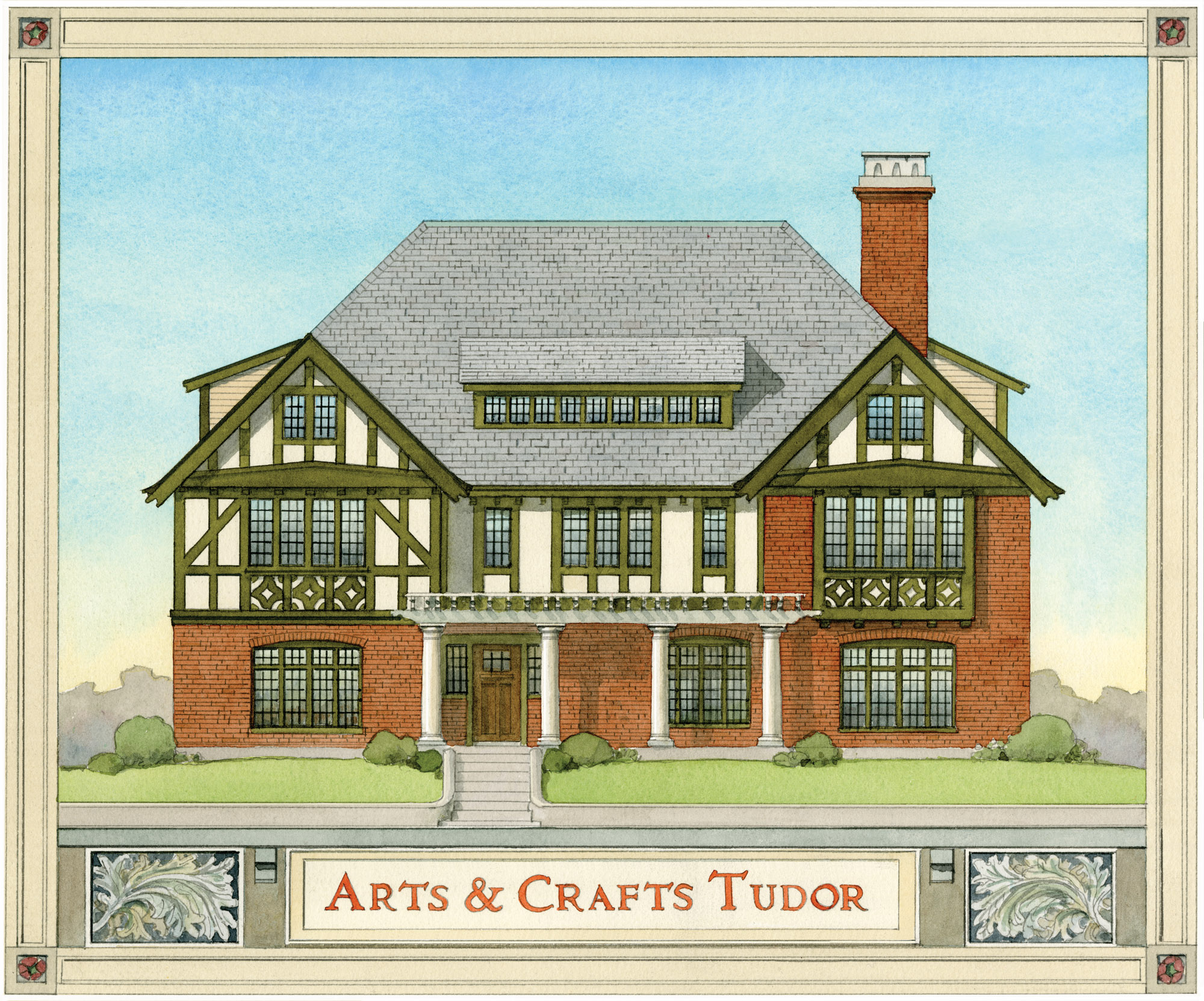tudor house illustration