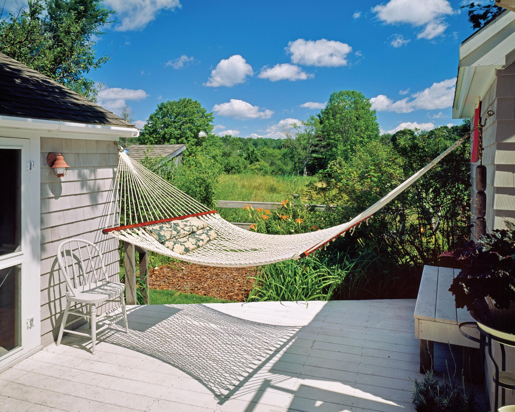 outdoor deck with hammock