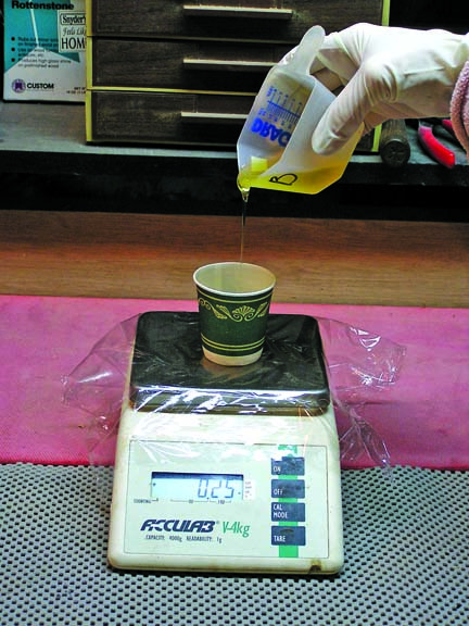 It's important to mix resin and hardener carefully, following the manufacturer's recommendations. Using a scale helps.
