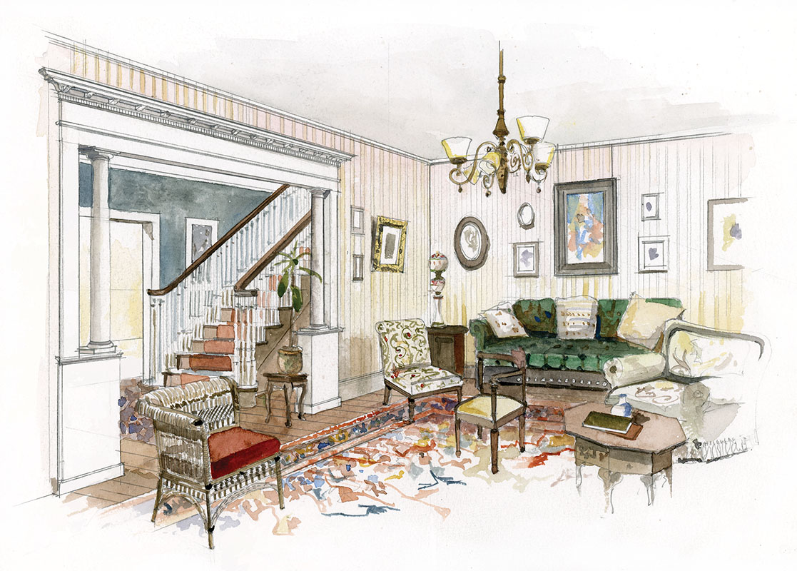 Furnishings: This reproduction chair is the only Revival piece in this typical room. The rest is a mix; note the Moorish table and a Victorian side chair reupholstered in chintz. (All illustrations based on interior views after actual period photographs annotated by William Seale.)