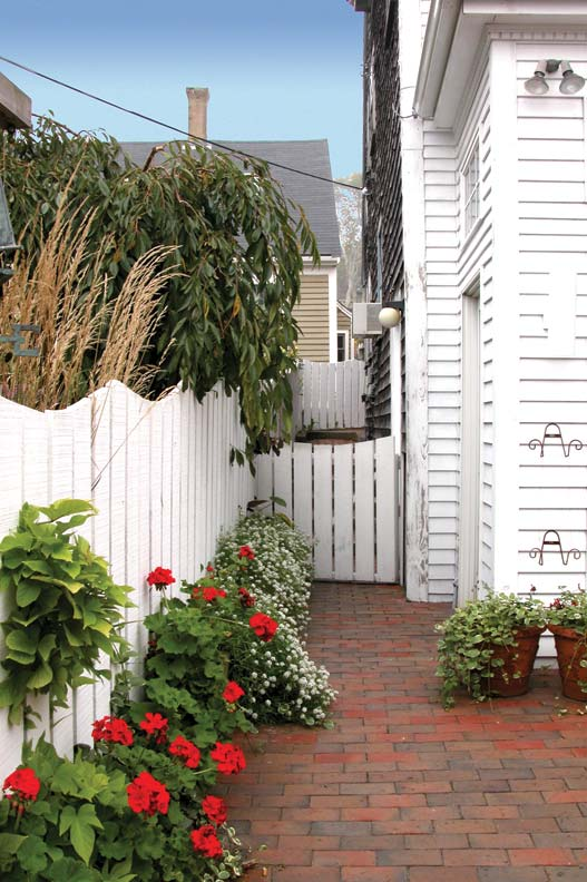 Aside a New England house, wide pickets closely spaced provide privacy, while tops cut to make a swoop between posts add visual interest.