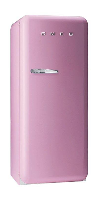 SMEG's retro-inspired fridge comes in several colors, including Mamie Eisenhower pink.