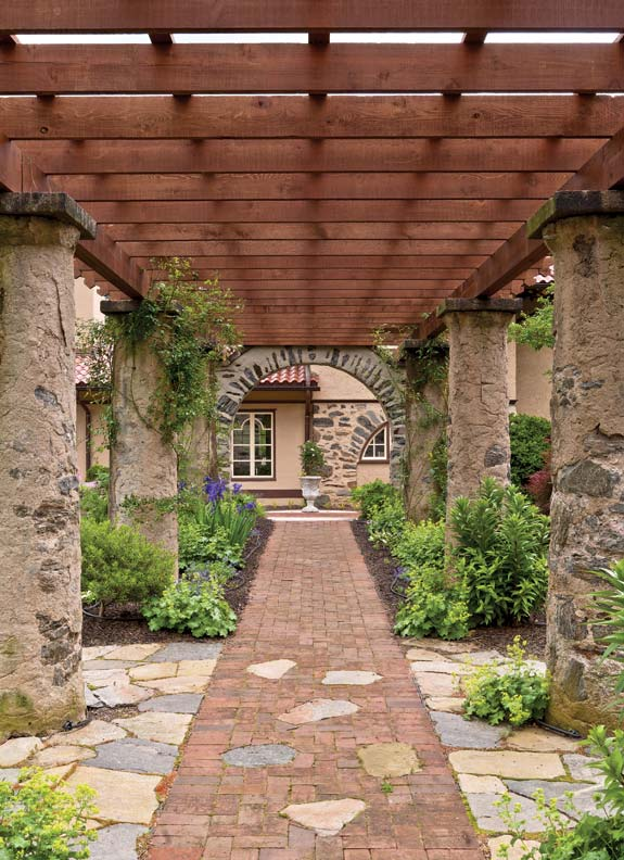 This massive 1904 pergola has been restored at a residence once part of the Rose Valley Arts & Crafts colony.