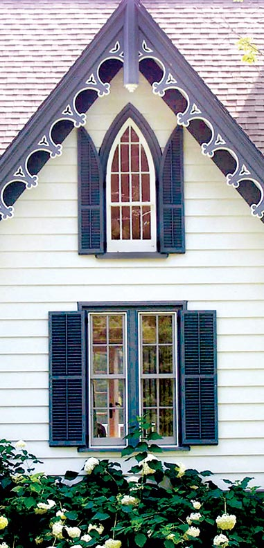 When installing arched shutters, the low end of the curve should touch the frame so that when shutters are closed, the arch matches that of the window.