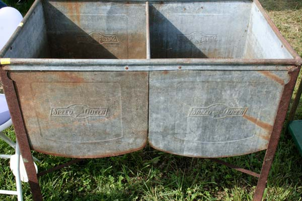 Old tin tubs, used in the back yard on wash days, for sale along Highway 127 in Kentucky. (Photo: Catherine S. Pond)