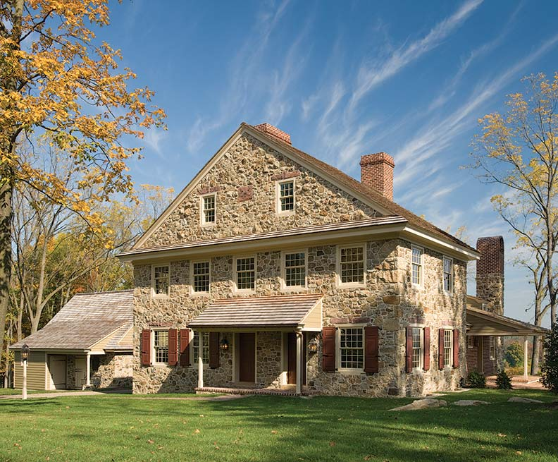 Construction materials are mixed at Pleasantview, in the tradition of old houses: one wing of the stone dwelling is wood-framed and covered in clapboards while the rear extension is brick. The house resembles the 1785 Bull Mansion—not a replica, but as if it were designed by the same architect.