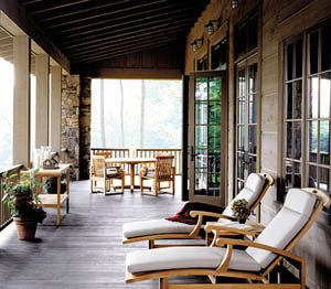 Open porches offer transitional spaces to the home's interior and natural surroundings.
