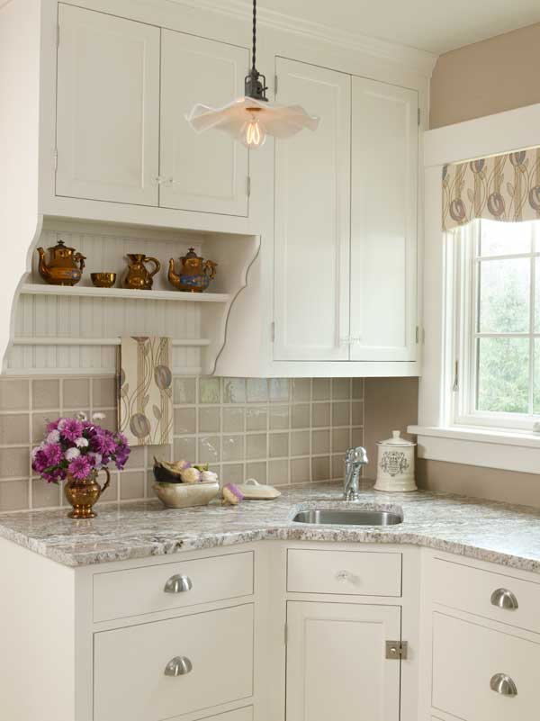 Photo gallery white kitchens old house restoration for Galley kitchen with breakfast nook