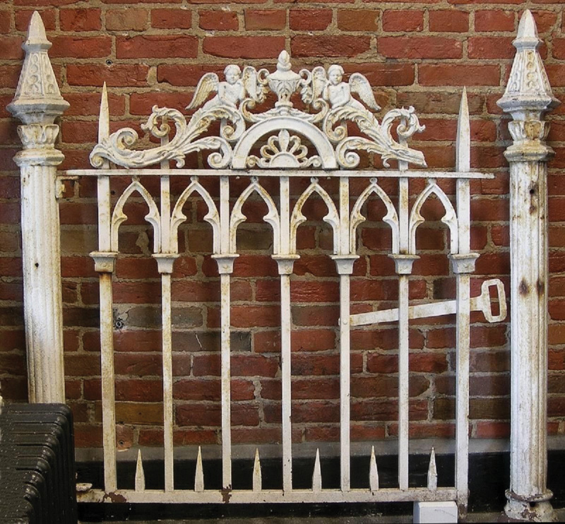 antique, painted Gothic fence gate