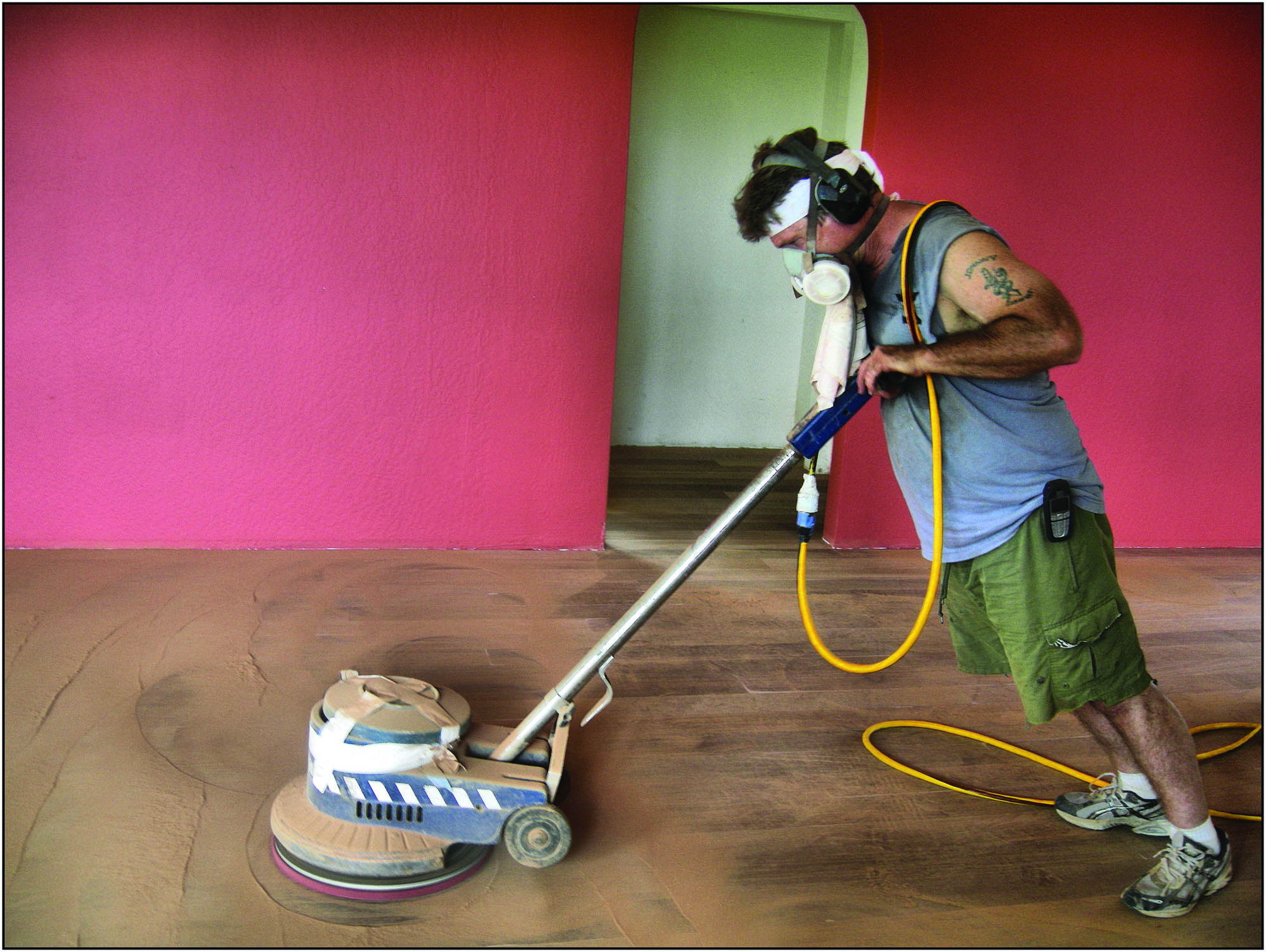 Screening, a technique that removes some but not all of the floor finish, can lengthen the amount of time between full sandings.