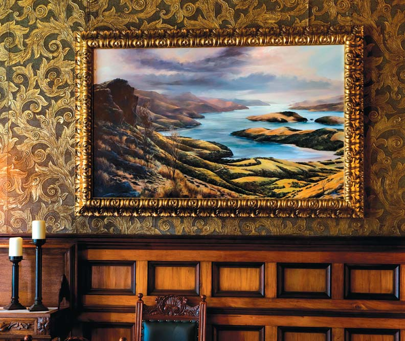 The only original wallpaper remaining in the house, the dining room's gold-leaf paper is specially protected by New Zealand's Historic Places Trust.