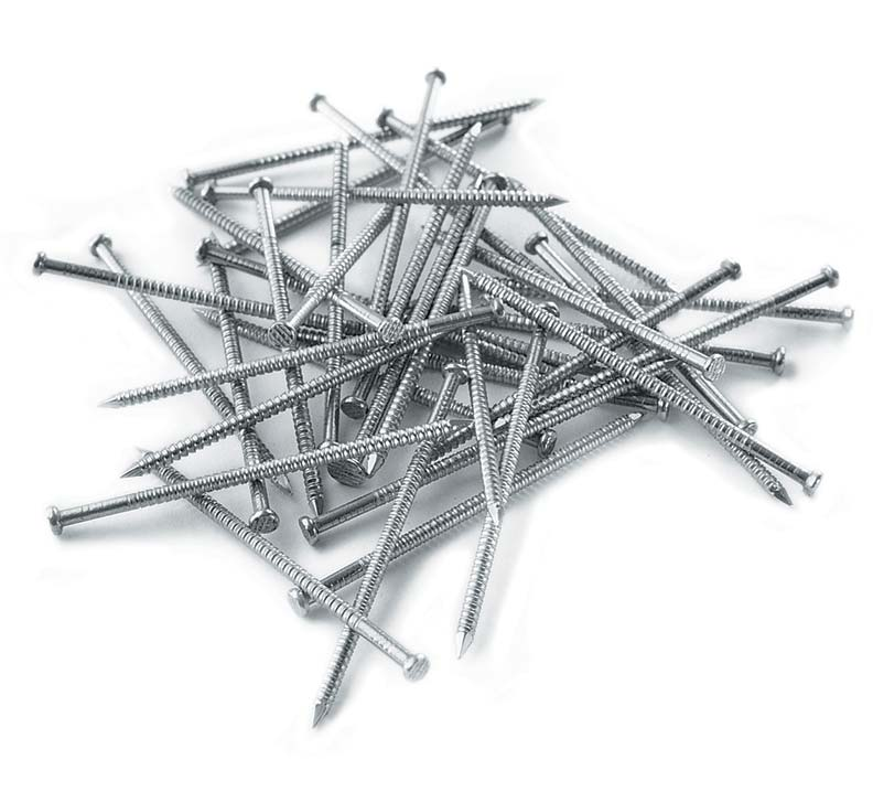 Stainless steel siding nails won't corrode when exposed to weather.