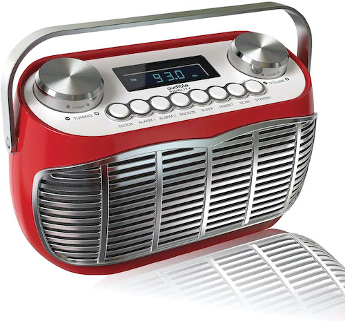 'Detroit' FM AM radio alarm clock with mid-century Motor City-style and real dial knobs.