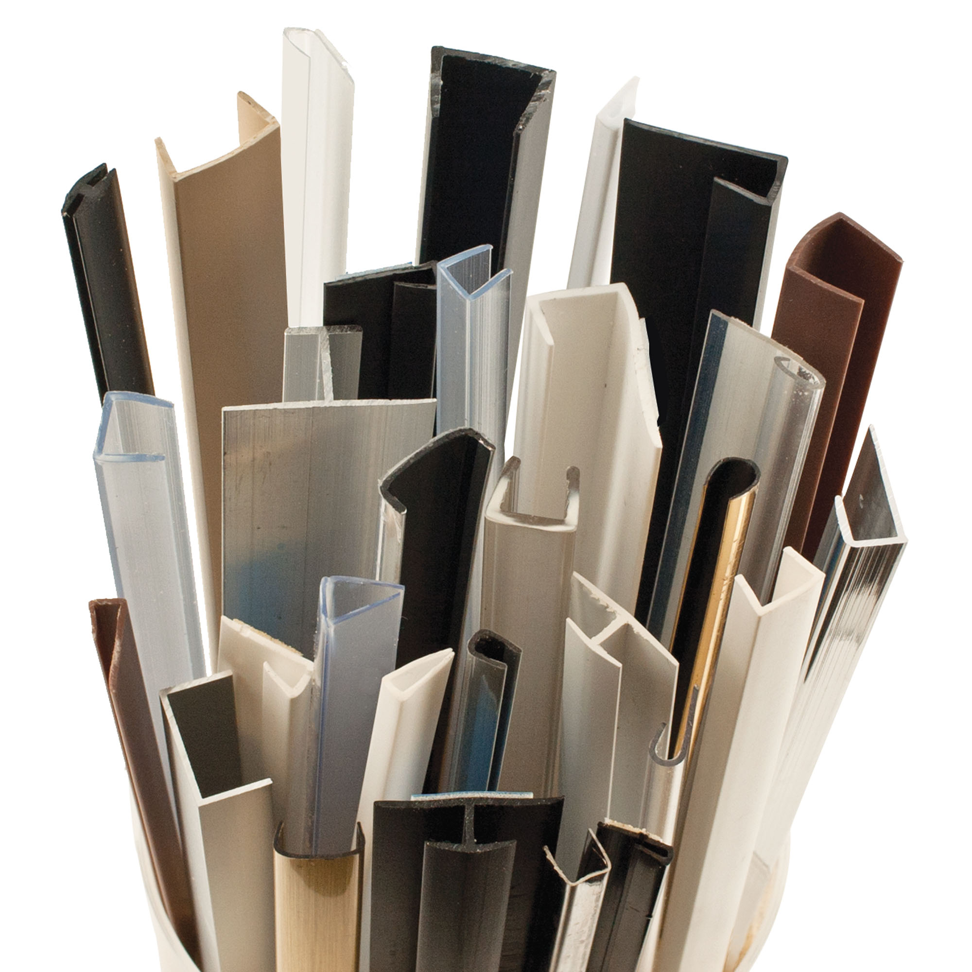 aluminum, stainless steel, and brass extruded angle mouldings and trims