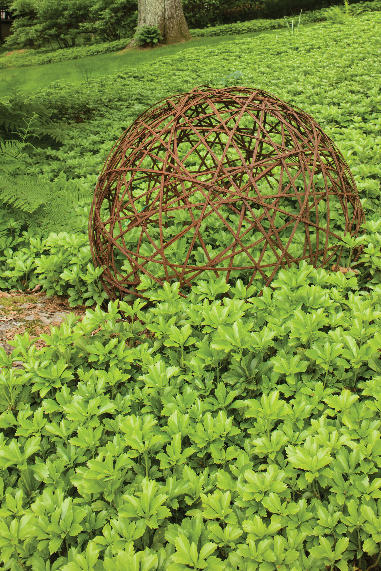 groundcover, metal ball sculpture
