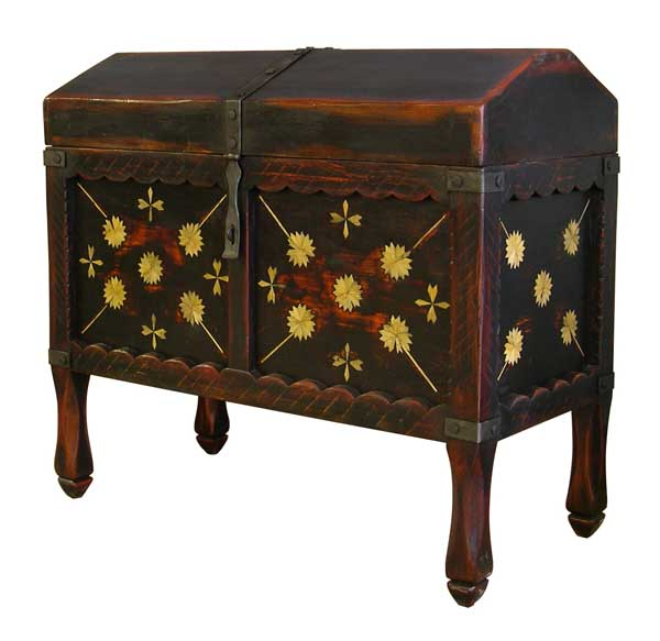 Painted chest, this one with early New Mexican antecedents, from Country Bed Shop, Ashby, Massachusetts.