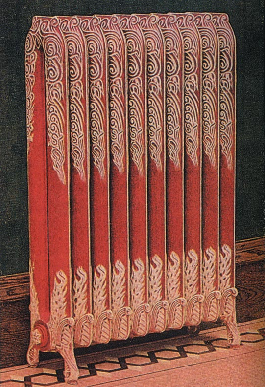 Radiators in color schemes contrasting with the walls were recommended for decorating areas such as hallways and billiard rooms.