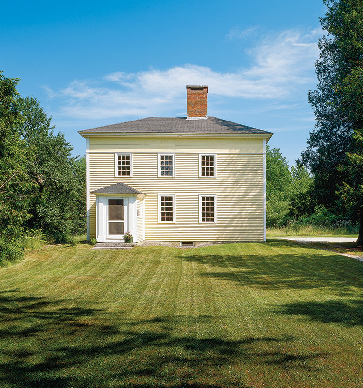 The main block of the 1814 house has remained intact. The typical Federal-era paint colors were taken from a painting by Jonathan Fisher himself; his notes say he mixed the buff-yellow paint using ochre found on site.