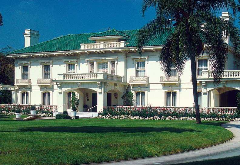 The Italian Renaissance-style Wrigley Mansion serves as headquarters for the Tournament of Roses.