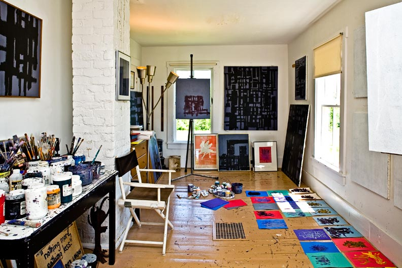 Patrick's sunlit studio is made up of two rooms combined into one during the 1960s.