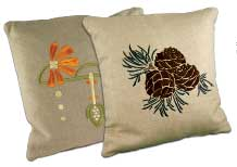 The pinecone is the quintessential Arts & Crafts motif, while flowers are common to all eras. These pillows are from Ford Craftsman Studios.