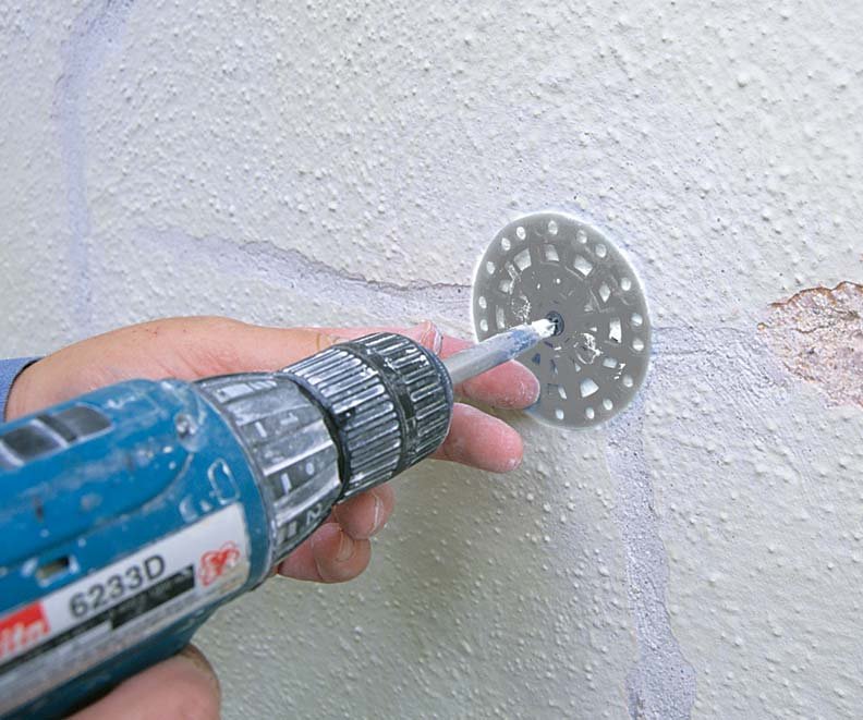 Plaster washers may be practical for re-anchoring plaster where the only access is from the finish side.