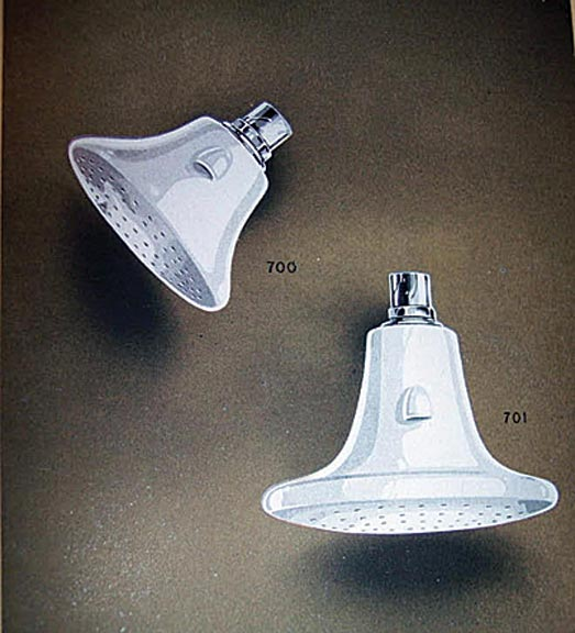 Porcelain showerheads, like these from a Thomas Maddock & Sons catalog, had a spurt of popularity in the early 20th century.