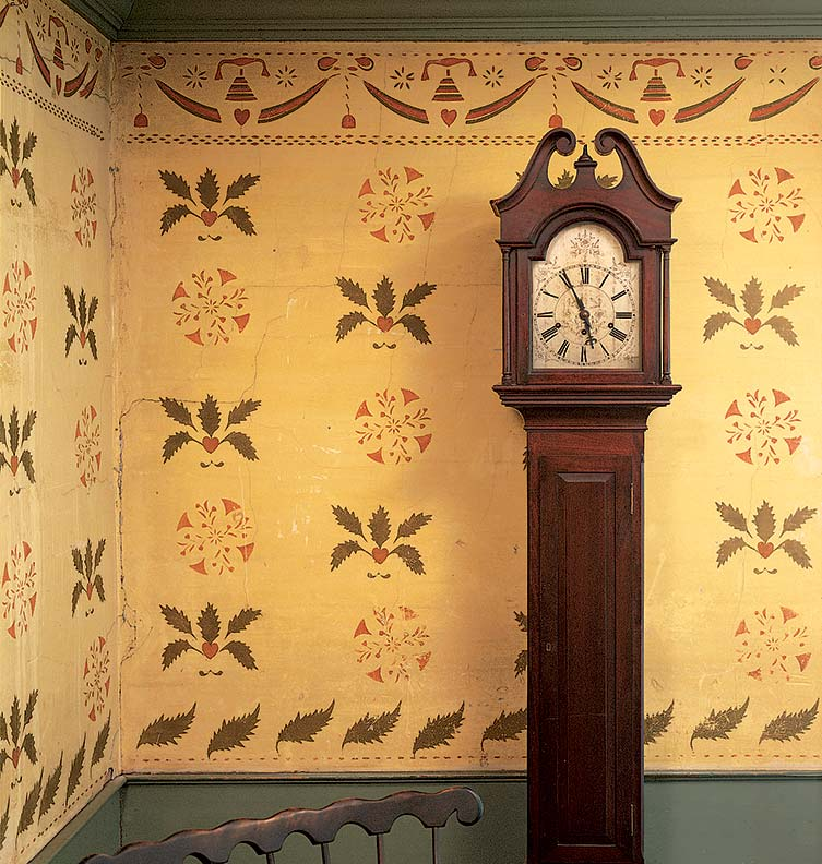 Mural stencil ideas for early homes old house for Colonial mural wallpaper