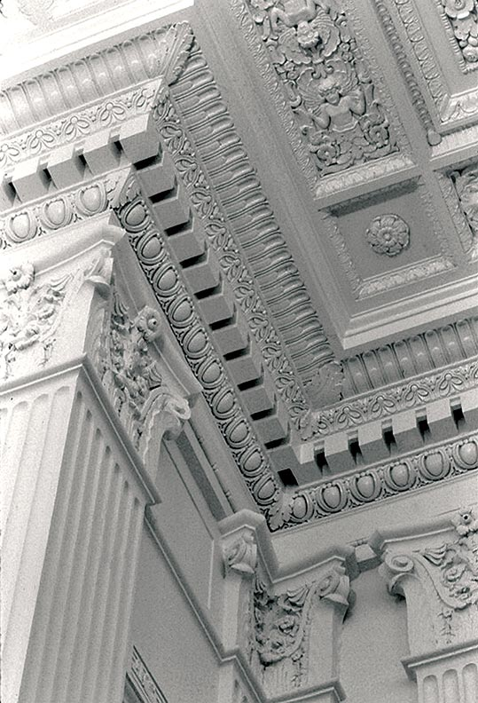 The elaborate plaster detailing on the walls and ceiling of the Grand Ballroom, unearthed during the 2003 restoration, had been hidden by a two-story structure of office cubicles built inside the cavernous space.