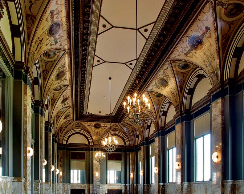 Frescoes line the vaulted ceiling of the Renaissance Room, an area where Elks Club members frequently held dinners.