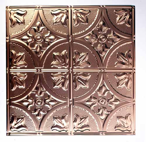 "Pressed-metal ceiling panels come in patterns that range from repeats every 3"" to repeats of 12"" or 24"", which require ample room to strut their stuff. (Courtesy of AA Abbingdon)"