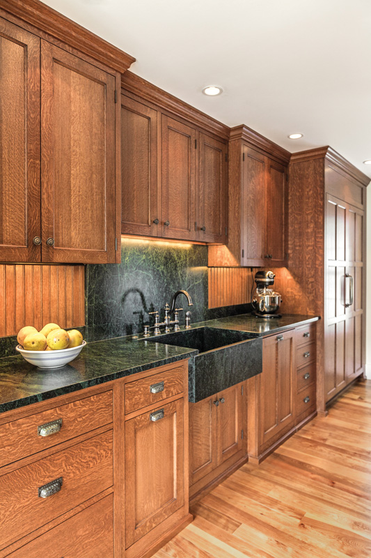 Quarter-sawn white oak with soapstone counters. (Photo: Joseph Corrado)