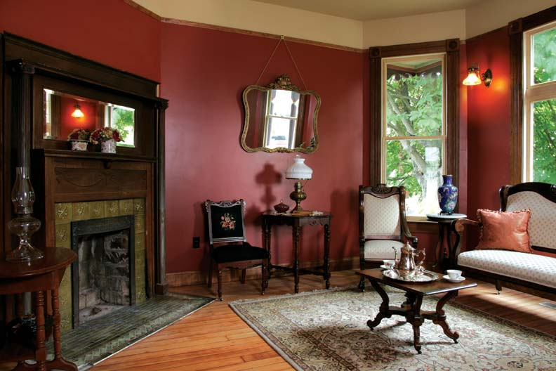 The downstairs rooms have a fall-ish color palette, while rooms upstairs are painted in lighter shades.