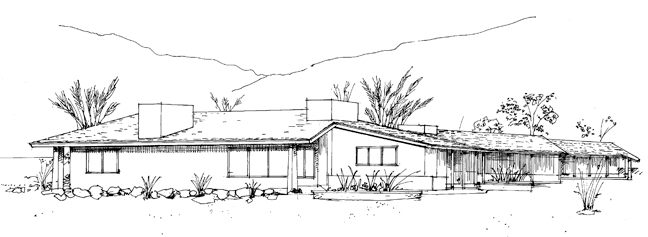 The California Ranch - Old House Journal Magazine on kame house sketch, victorian house sketch, split level house sketch, colonial house sketch, cottage house sketch, bungalow house sketch, contemporary house sketch, cape cod house sketch, pool house sketch, tudor house sketch,