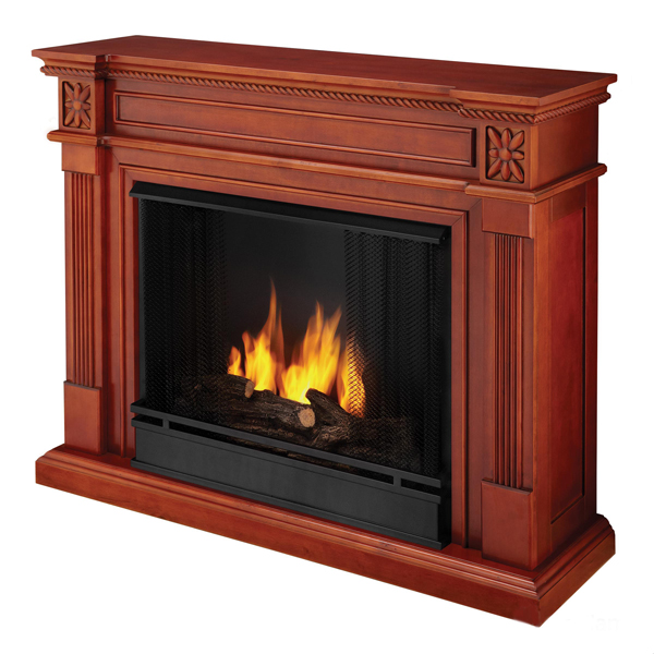 "Real Flame ""personal"" fireplaces require no venting and burn room-warming alcohol gel."