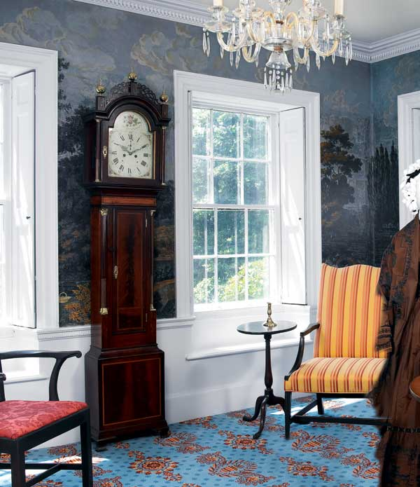 Recessed, raised-panel shutters are original at a Federal-era mansion in Duxbury, Massachusetts. Photo: Greg Premru