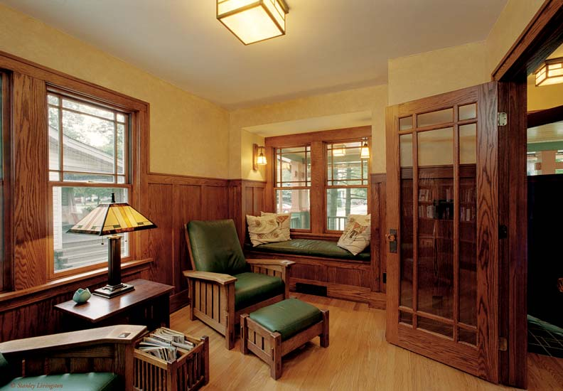 Relocating the front door to the center of the house allowed the architect to carve out a getaway study.