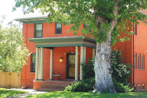 Many of the historic buildings in Denver with brick delamination problems date from around the turn of the 20th century. Construction varies from cheap buildings to this handsome ca. 1909 house.