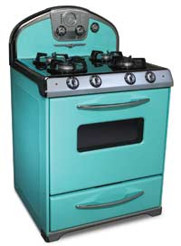Robin's-egg blue is one option for Elmira Stove Works' 1956 gas and electric 'Retro' range. $4,395.