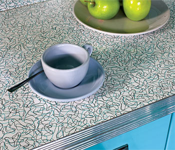 Boomerang-pattern Formica is a period favorite, and has been re-released.
