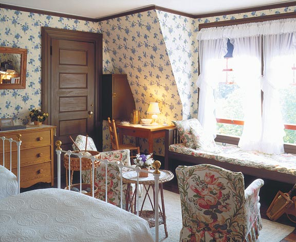 Eleanor Roosevelt's bedroom wallpaper at the Roosevelts' summer residence, Campobello, in Maine, is an interpretive design of the original 1920s paper that could be found in many average houses.