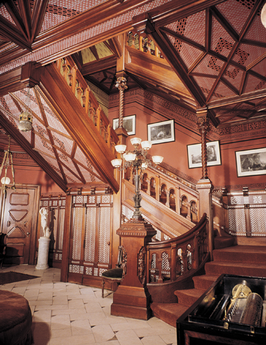 The entry stair at the Mark Twain House in Hartford, Connecticut